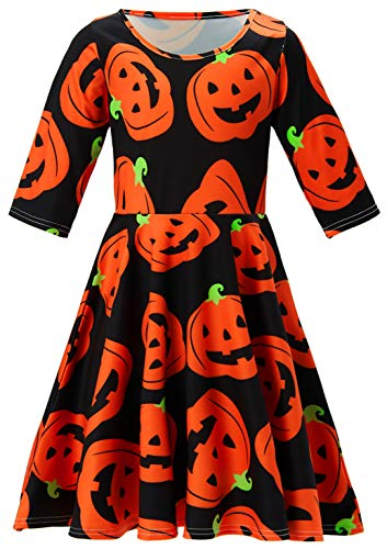 Dressing Up Kids (8 9 10 Years Old Big Girl's Dressing Up Outfits with Unique Cool Orange Pumpkin Design Puffy Swing Midi Long 3/4 Sleeves Romper Dress for Kids Children in Halloween Night)
