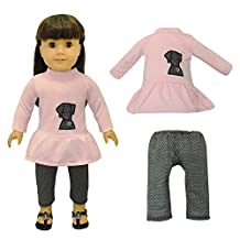 Dolls Clothes - Pink Shirt With Embroidered Detail and Black Pants Outfit Fits American Girl Doll, My Life Doll, Our Generation and other 18 inch Dolls