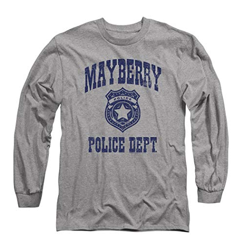 Popfunk Andy Griffith Mayberry Police Department Longsleeve T Shirt & Stickers (Large) Heather Gray