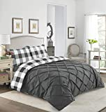 Sunshine Comforts Designer Percale Cotton-Rich Check Square Pintuck Reversible Quilt Duvet Cover Set with Pillowcases (Charcoal Grey, Double)