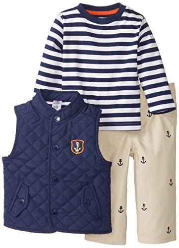 Little Me Baby Boys' Anchor Vest 3 Piece Jacket Set, Khaki, 24 Months