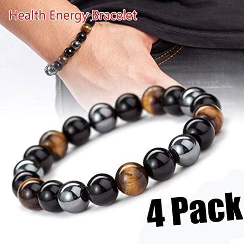 SevenMye 4 Stück 8 mm Hämatit Stein Perlen Armband Männer Frauen Schmuck Gesundheit Pflege Magnet Armband