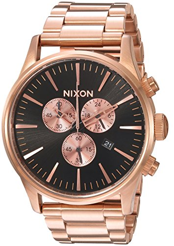 Nixon Men's 'Sentry Chrono' Quartz Metal and Stainless Steel Watch, Color:Rose Gold-Toned (Model: