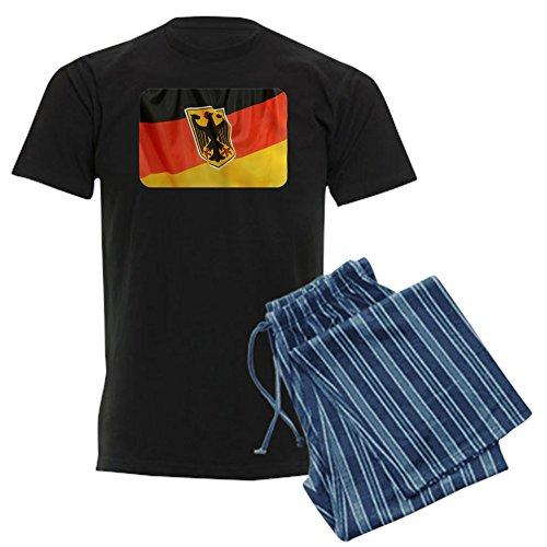 Royal Lion Men's Dark Pajamas German Flag Waving - Blue Stripe, Medium