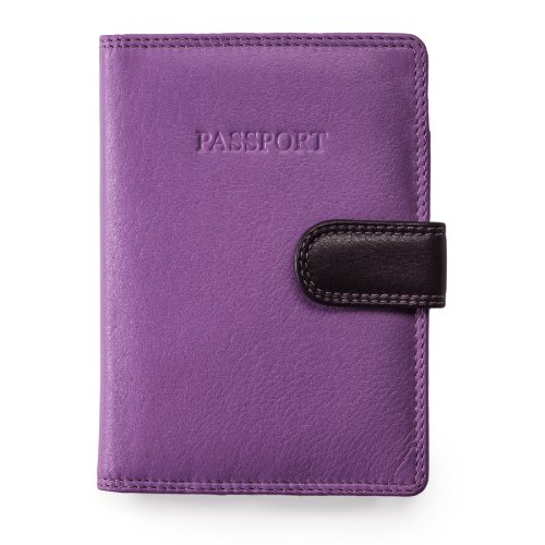 Visconti Soft Leather Secure RFID Blocking Passport Cover Wallet - POLO 2201, Lilac/Multi, One Size