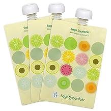 Sage Spoonfuls Sage Squeezie Double Zipper Reusable Food Pouch, 7 Oz, 3 Pack, Fruit Dots