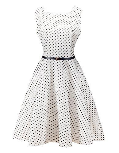Angerella Retro Dresses For Women Vintage Polka Dot Party Sleeveless Dress