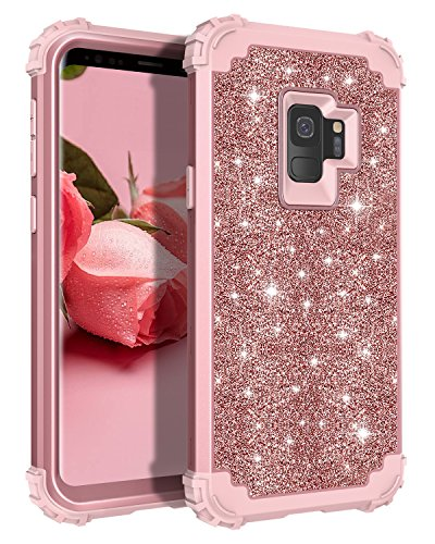 Galaxy S9 Case, Lontect Luxury Glitter Sparkle Bling Heavy Duty Hybrid Sturdy Armor Defender High Impact Shockproof Protective Cover Case for Samsung Galaxy S9 - Shiny Rose Gold