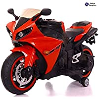 TALREJA ENTERPRISES Battery Operated Ride on Bike R1 with Hand Accelerator and Foot Brake and Lights - Rechargeable (RED Color)