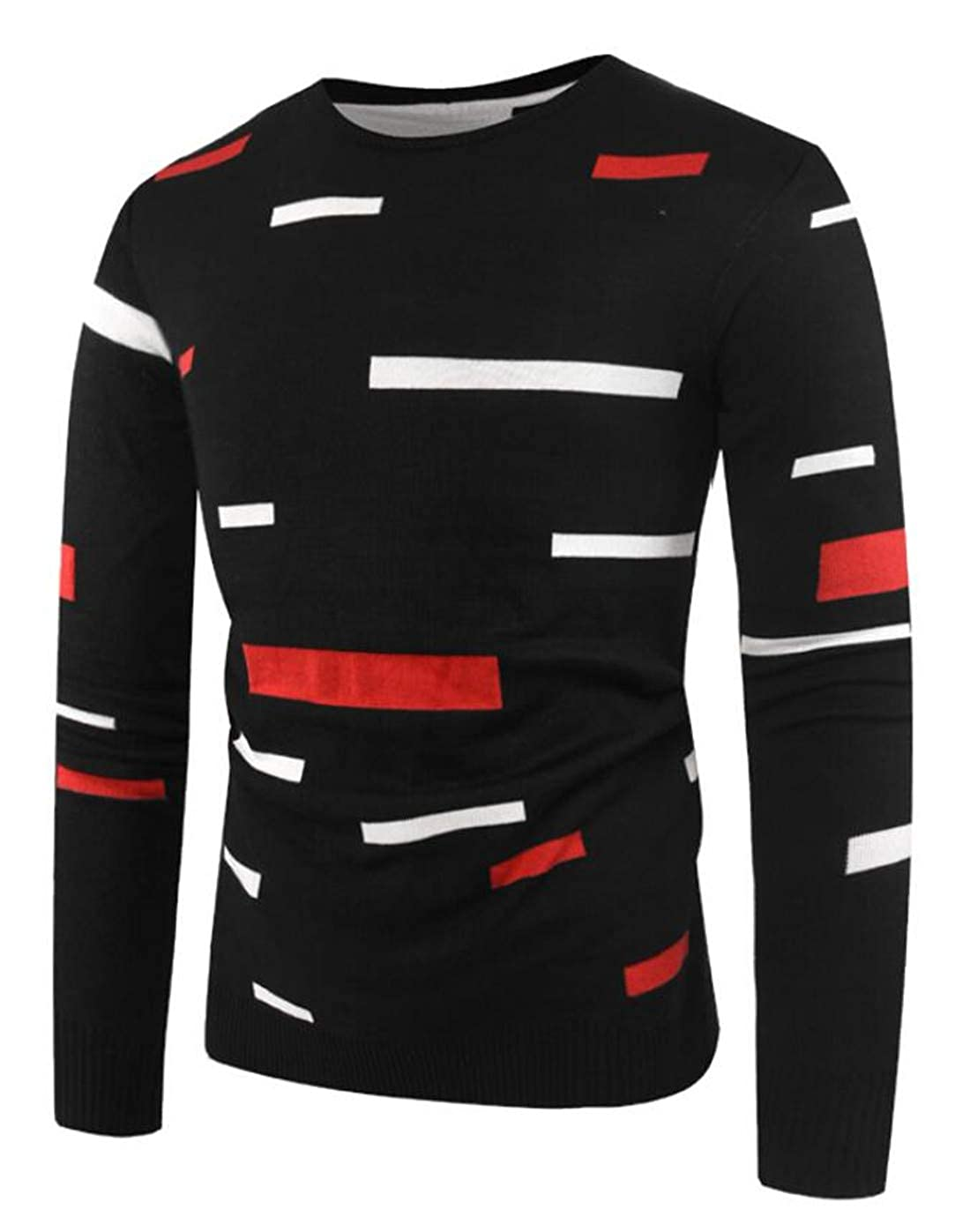 Nanquan Men Long Sleeve Hollow Out Contrast Slim Fit Sweater Pullover