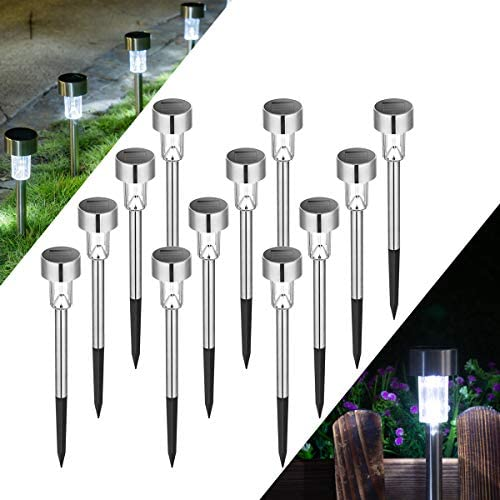 Solpex Solar Lights Outdoor Pathway,12 Pack Solar Walkway Lights Outdoor,Garden Led Lights for Landscape Patio Lawn Yard Driveway-Cold White Stainless Steel