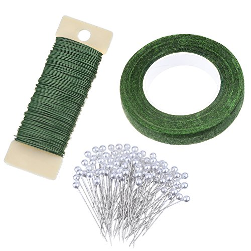 eBoot Floral Arrangement Kit 1/2 Inch Floral Tape, 22 Gauge Floral Wire and 100 Pieces Ball Head Pins