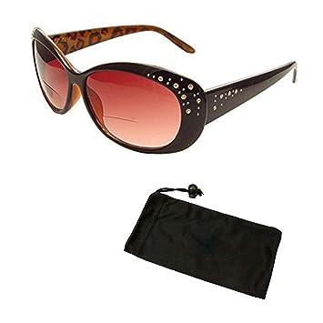 da189554190c Women Fashion Designer Oversized Lenses Bifocal Sun Readers Sunglasses  Reading Glasses with Rhinestone (Black,