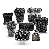 Black Candy Buffet - (Approx 14lbs) Includes Hershey's Kisses, Sixlets, Gumballs, Dum Dum Lollipops, Buttermints & More - Free Cold Packaging