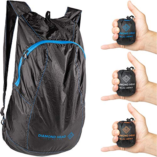 Diamond Head Equipment | Pali 20L Daypack | Ultralight Packable Hiking Backpack | 2.3 Ounces | Designed in Hawaii (Black/Blue)