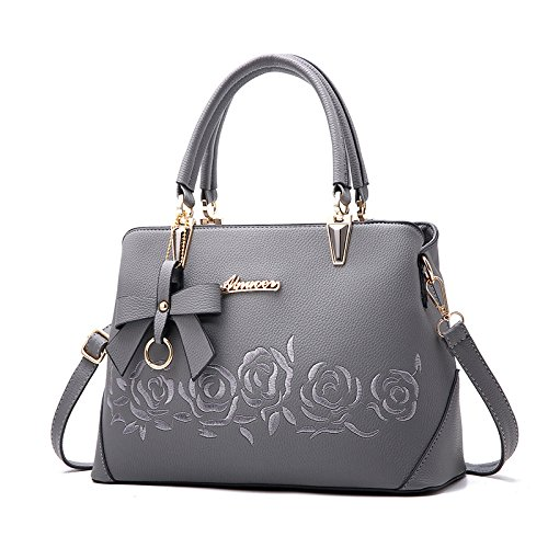 Tote Large Classic Bag Capacity Grey Fashion Messenger Bag Womens Rose Embroidered Shopping Shoulder Bag qRnw1UW0Sx