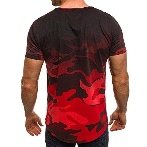 Camicetta Slim Top Camicia Casual Moda Maniche Corte Rosso Camouflage A Uomo Sumtter Da Personalità 1xZHBH
