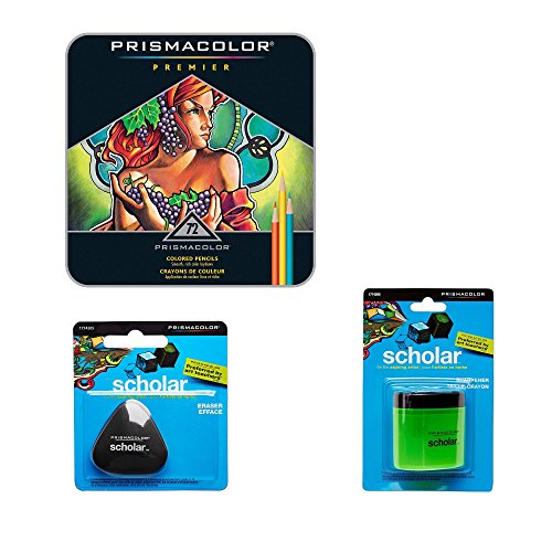 Premier Cloth Set - Prismacolor Deluxe Colored Pencil Drawing Kit - 72 Premier Soft Core Colored Pencils in a gift tin, Pencil Sharpener, Artists Eraser
