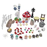 Material: ResinWith a bag of pins to help you fasten ornaments more firmly in micro landscapePackage contents: 1 x Climbing dog pillar with clock 1 x Signpost 1 x Mushroom house (Red) 4 x Pairs of mushrooms 10 x Ladybugs 2 x Rabbits(2cm*2cm) 1 x Tabl...