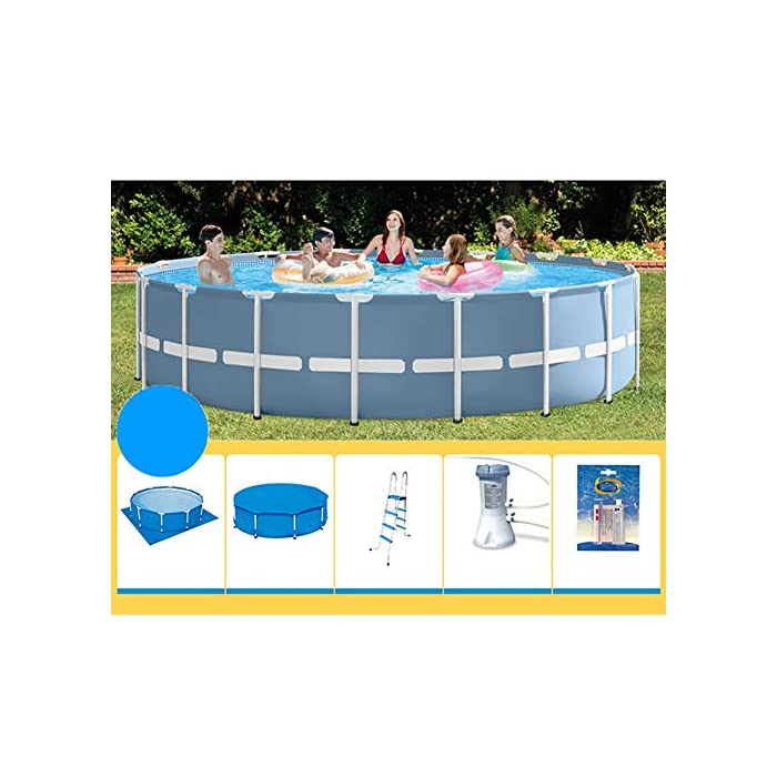 51skC zy65L Esta es una alternativa asequible y fácil de instalar para un modelo inflable. Disfruta de un divertido verano con una piscina de marco redondo. Los duraderos marcos de metal soportan el uso de una gran cantidad de usos y elementos.