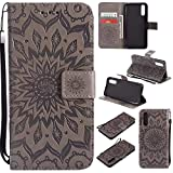 Huawei P20 Case Emboss Sun Flower PU Leather Wallet ID & Credit Card Slots Magnetic Folio Cover (Huawei P20, Gray)