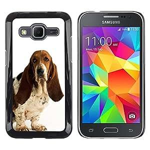 TopCaseStore / la caja del caucho duro de la cubierta de protección de la piel - Basset Hound White Dog Pet Droopy - Samsung Galaxy Core Prime SM-G360