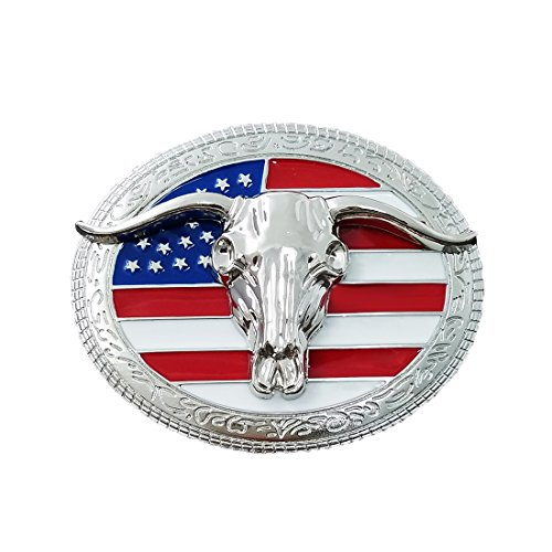 QUKE American Western Cowboy USA Flag Rodeo Long Horn Bull Belt Buckle
