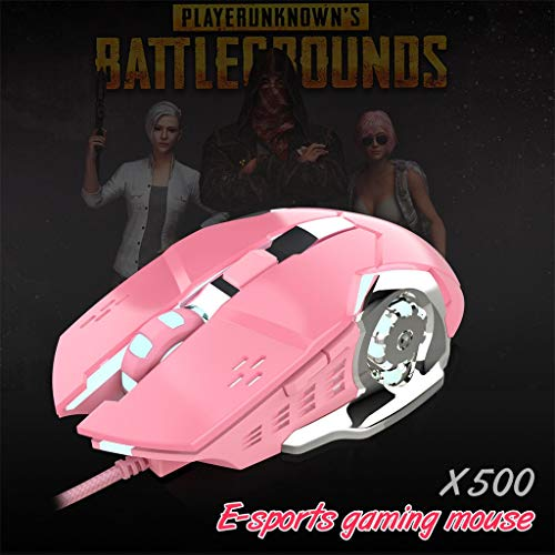 CMrtew Professional HXSJ X500 Bright Wired Girl Gaming Mouse Mechanical Gamer Mice 3200DPI for PUBG USB Computer Mouse Gamer Mice