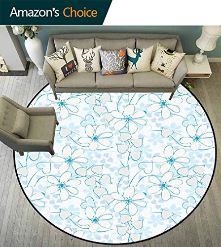 Blue Round Rug entryway,Abstract Flowers with Heart Shaped Leaves Romantic Fresh Beauty in Nature Environmental Protection Fabric,Pale Blue Aqua White,D-51
