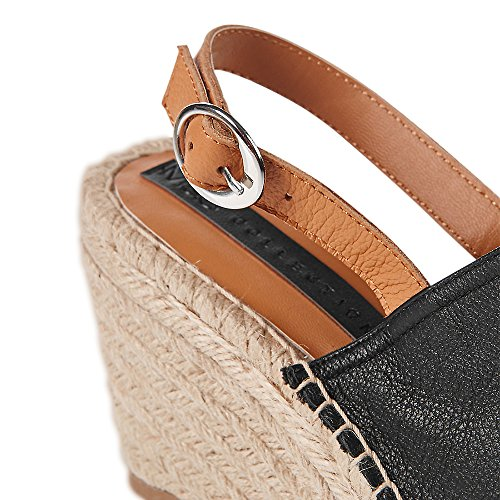 Marks & Spencer M&S Collection T022947 Leather Wedge Heel Vamp Espadrilles Sandals with Insolia® RRP £39.50 Black qSSujj3ydP