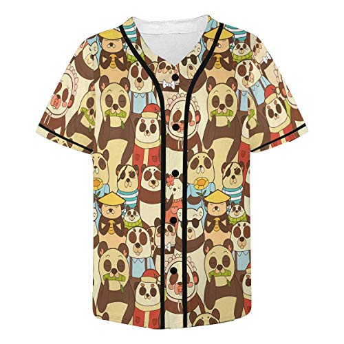 InterestPrint Men's Colorful Funny Pandas Baseball Jersey Button Down Short Sleeve Shirt 2XL