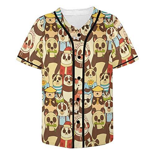 InterestPrint Men's Colorful Funny Pandas Baseball Jersey Button Down Short Sleeve Shirt - Baseball Panda Jersey