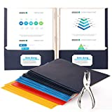 Twin Pocket Folders with Fasteners,Free Hole Paper Punch, Matte Embossed Design, Includes Business Card Slot,Assorted Colors, 20-Pack