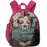 Cheap HUEH Outdoor Japanese Geisha Kids Snack Backpack School Book Bags Gift For Toodle Teen Boys Girls