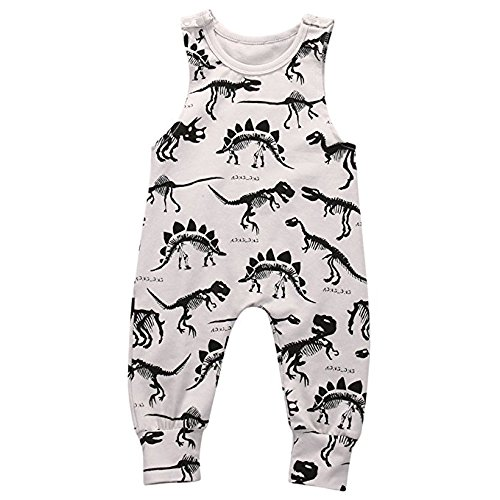 One Piece Outfit (BiggerStore Summer Baby Boys Animal Printed Sleeveless Romper One-Piece Bodysuit Jumpsuit Outfits Grey (70cm/0-3 Months))