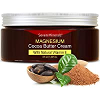 Natural Magnesium Cream for Pain Calm, Leg Cramps, Sleep & Muscle Soreness. With Moisturizing Organic Cocoa Butter and…