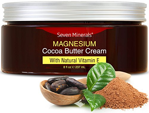 Natural Magnesium Cream for Pain Calm, Leg Cramps, Sleep & Muscle Soreness. With Moisturizing Organic Cocoa Butter and Vitamin E. Our All Natural USA Made Creme is Safe for Kids. (Best Magnesium For Muscle Cramps)
