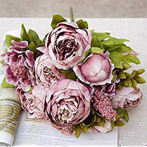 GSD2FF 1Bunch European Artificial Peony Decorative Party Silk Peonies for Home Hotel Decor DIY Wedding Decoration Wreath,D 52