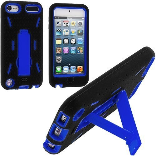 Black / Blue Hybrid Rugged Hard Silicone Case Cover w/ Stand for Apple iPod Touch 5th 6th Gen Generation 5G 5 6G 6