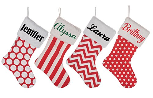 Personalized Christmas Stocking Custom Name - Fur Collar Fireplace Decor Large Normal Color 1 Pcs