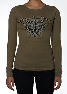 Oil Ragz Women's Racing Wings Long Sleeve Classic Thermal Shirt