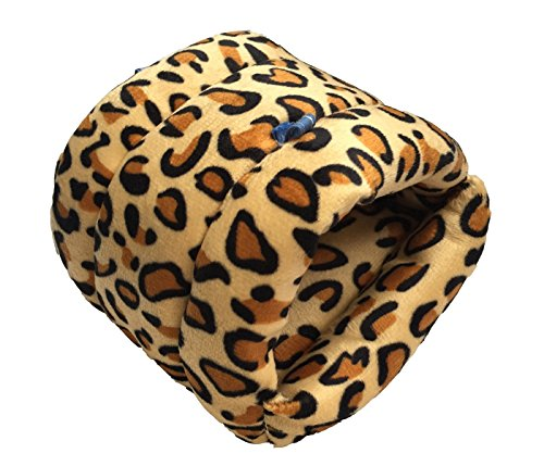 WOWOWMEOW Small Animals Warm Hanging Cage Cave Bed Hamsters, Guinea-Pigs, Rats, Rabbit Chinchillas (L, Leopard)