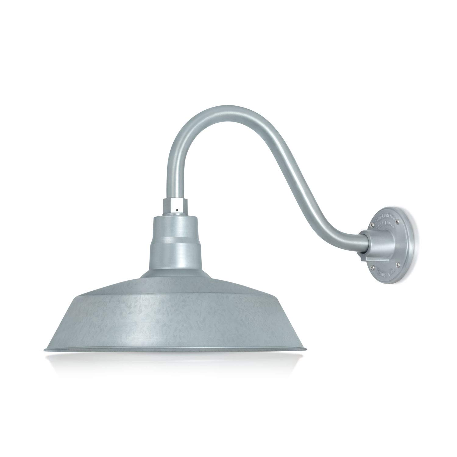 14in. Galvanized Finish Outdoor Gooseneck Barn Light Fixture with 14.5 in. Long Extension Arm - Wall Sconce Farmhouse, Vintage, Antique Style - UL Listed - 9W 900lm A19 LED Bulb (5000K Cool White)