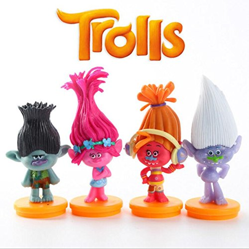 [Hot 4pcs/lot Dreamworks Trolls 7cm Poppy Branch DJ Suki Guy Diamond PVC action figures with base] (60s Costume Ideas For Boys)