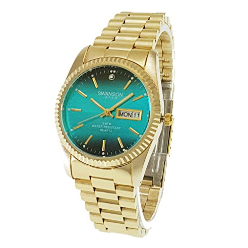 Swanson Men's Gold Day-Date Watch Turquoise Dial with Travel Case