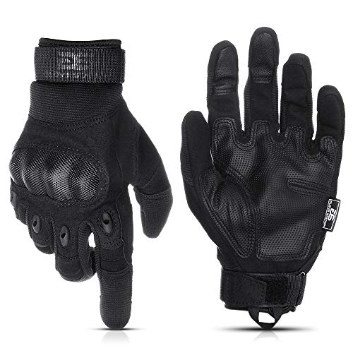 Glove Station The Combat Military Police Outdoor Sports Tactical Rubber Hard Knuckle Gloves for Men (Black, Medium)