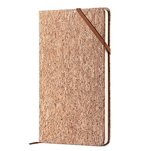Eco Friendly Cork Notebook - Lemome Premium Thick Paper A5 Classic Writing Notebook, Hard Cover, Plain, Large, 5 x 8