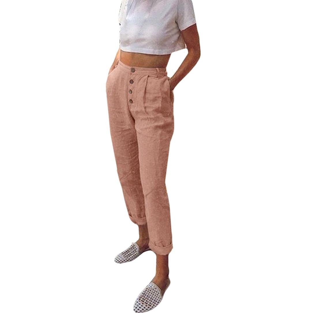Spbamboo Women High Waist Long Pants Solid Color Button Pencil Pocket Trousers