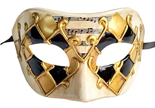 Mardi Gras Venetian Masks (Coolwife Men's Masquerade Mask Vintage Venetian Checkered Musical Party Mardi Gras Mask (Gold/Black Checkered))