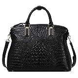 Women Gneuine Leather Handbags【Full-grain Cowhide】Embossed Crocodile Top Handle Bags